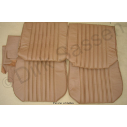 Seat covers, front seats and back seat, leather, light brown, not mounted