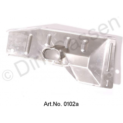 Exhaust manifold shielding plate, outside, with preheating spigot