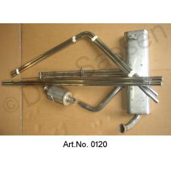 Exhaust system, complete, without mounting kits, until 1962, stainless steel