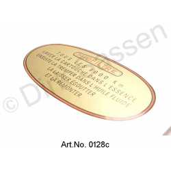 "Sticker air filter, gold and oval, ""alle 6000-Kilometer-Intervall"""