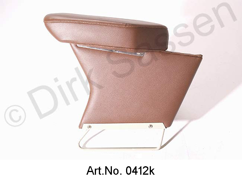 Center armrest, new, leather, dark brown