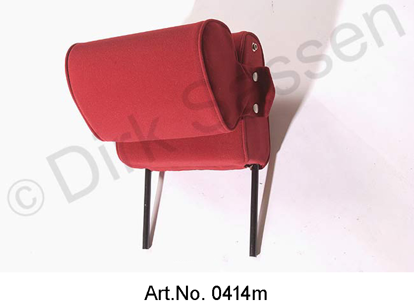 Headrest, narrow, velor, dark red