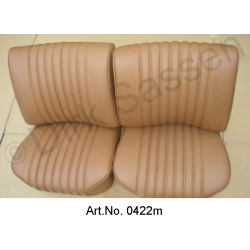 Seat covers, Pallas, front seats and back seat, leather, light brown, fully assembled, exchange part