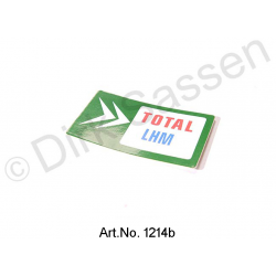 Sticker, ´Total`, green, for hydraulic tank, LHM