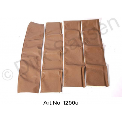 Set of covers for door trim, top, leather, dark brown
