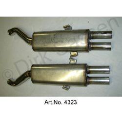 Exhaust, set rear silencer, 2 pieces, Inox, SM
