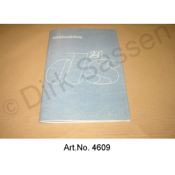 Operating Instructions, DS 21, model year 10/1968 to 09/1969, reprint, semi-automatic
