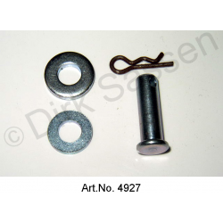 Bolt for door, with snap ring and washers, Non-Pallas, nickel plated
