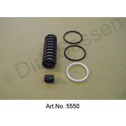 Revision set for clutch slave cylinder, with 2 rubber rings, square, 22.5 x 5 mm, with teflon ring and spring
