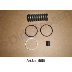 Clutch slave cylinder revision set with 2 rubber rings square 22.5 x 3 mm, with teflon ring and spring