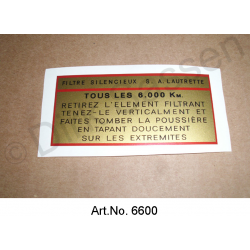 Sticker, rectangular, air filter, ID models, 1957 to 1964