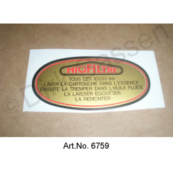 Sticker, air filter, gold, oval, ´alle 10.000 km Intervall`