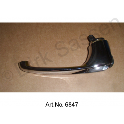 Door handle, inside, chrome-plated, rear, left, short lever, black, 73 mm, replacement part