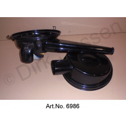 Air filter, carburettor, from 1970, black, version with preheating spigot, 2-piece, exchange part