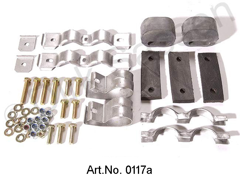 Mounting kit, rear, complete, with screws and rubbers