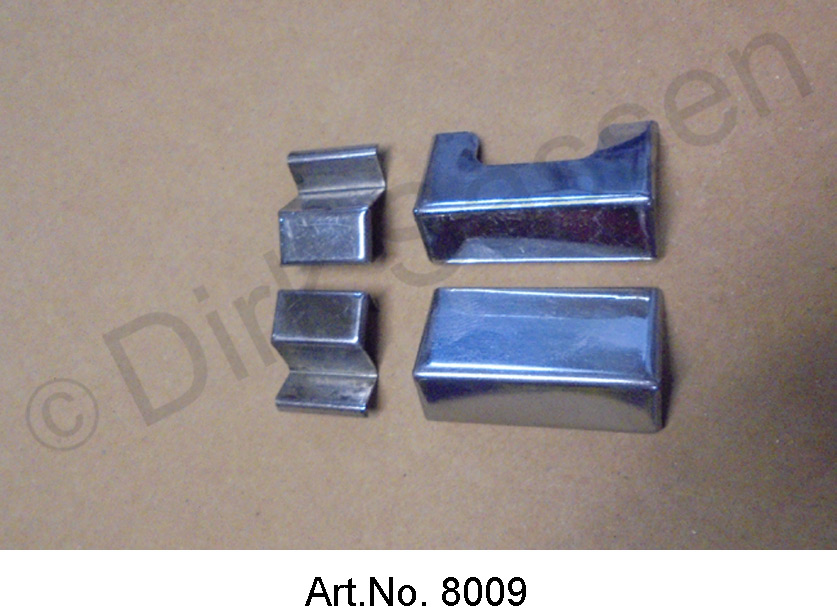 Set of chrome covers for roof frames, 4 parts, with cut-out for antenna cables, as good as new