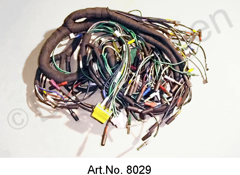 Wiring harness, alternating current, from 04/1971, battery on the left, round instruments, 8 fuses, export version