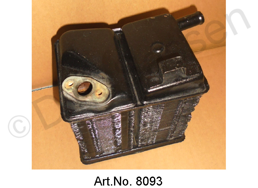 Heating radiator, large, with heating valve flange, used, functional, 1968 to 1969