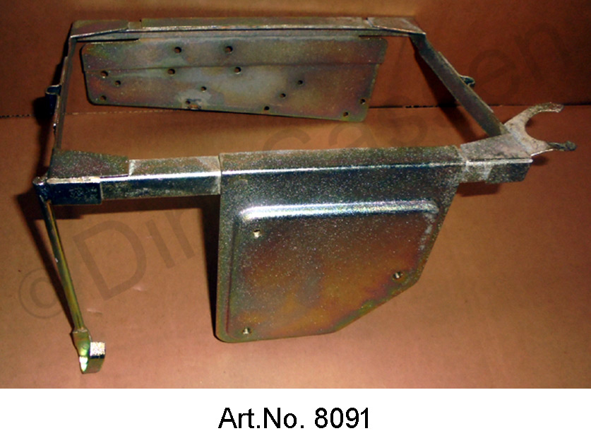 Battery frame, from 1969, with holder and regulator, yellow chromated