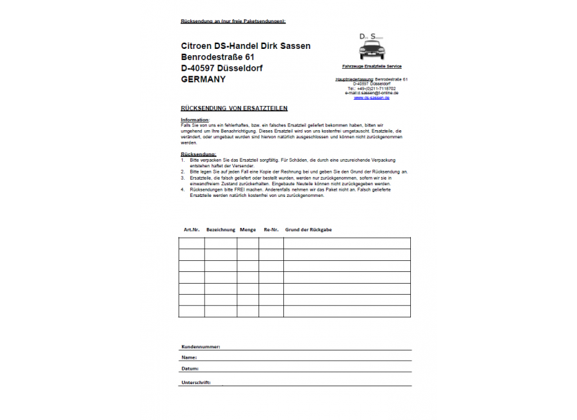 Form for returning spare parts (German)